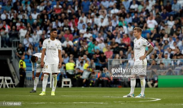 Carlos Casemiro and Toni Kroos of Real Madrid in action during the UEFA Champions League group A match between Real Madrid and Club Brugge KV at...