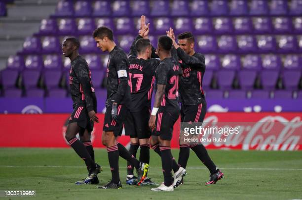 Carlos Casemiro celebrating goal with Lucas Vázquez from Real Madrid during the La Liga Santander match between Real Valladolid CF and Real Madrid at...