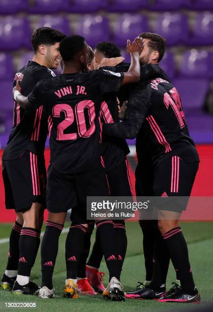 Carlos Casemiro from Real Madrid celebrating goal with Real Madrid players during the La Liga Santander match between Real Valladolid CF and Real...