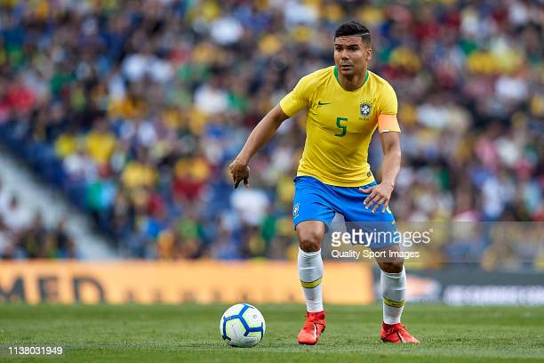 Carlos Casemiro of Brazil in action during the International Friendly match between Brazil and Panama at Estadio do Dragao on March 23 2019 in Porto...