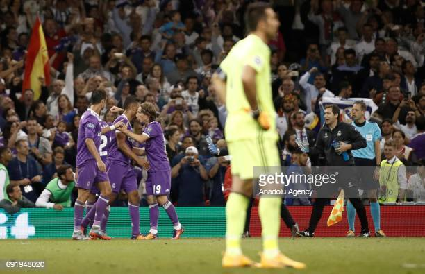 Carlos Casemiro of Real Madrid celebrates after scoring a goal during UEFA Champions League Final soccer match between Juventus and Real Madrid at...