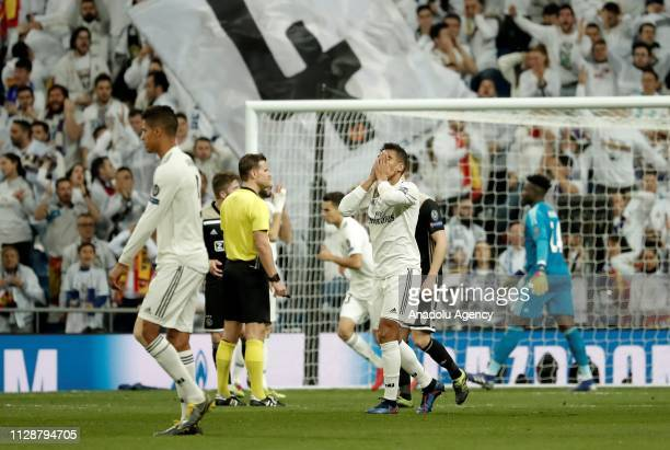 Carlos Casemiro of Real Madrid gestures after losing UEFA Champions League Round of 16 second leg match against Ajax at Santiago Bernabeu Stadium in...