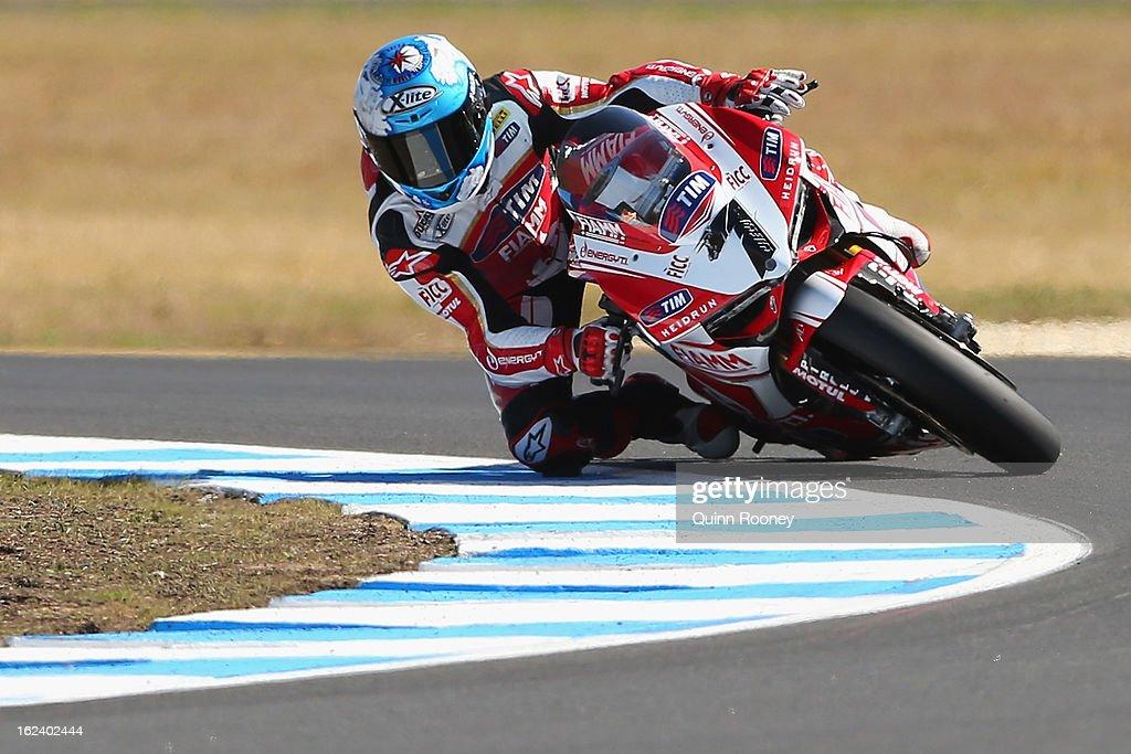 Carlos Checa of Spain riding the #7 Team Ducati Alstare during Superpole for the World Superbikes at Phillip Island Grand Prix Circuit on February 23, 2013 in Phillip Island, Australia.