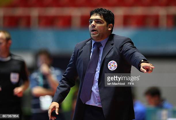 Carlos Chilavert the coach of Paraguay reacts during the FIFA Futsal World Cup Group C match between Guatemala and Paraguay at the Coliseo el Pueblo...