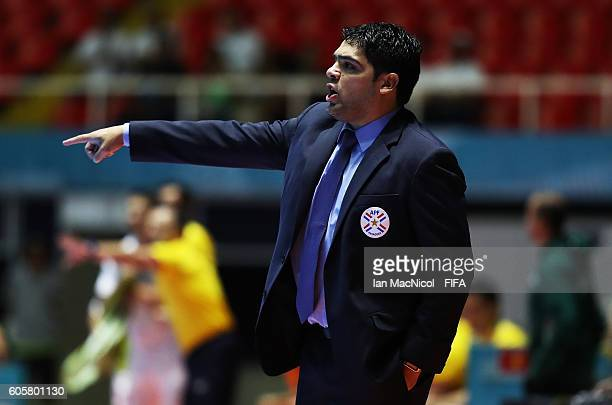 Carlos Chilavert the coach of Paraguay reacts during the Group C match between Paraguay and Vietnam during the FIFA Futsal World Cup at the Coliseo...