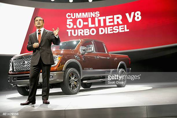 Carlos Chosn, President and Chief Executive Officer at Nissan, introduces the new Titan pickup at the North American International Auto Show on...