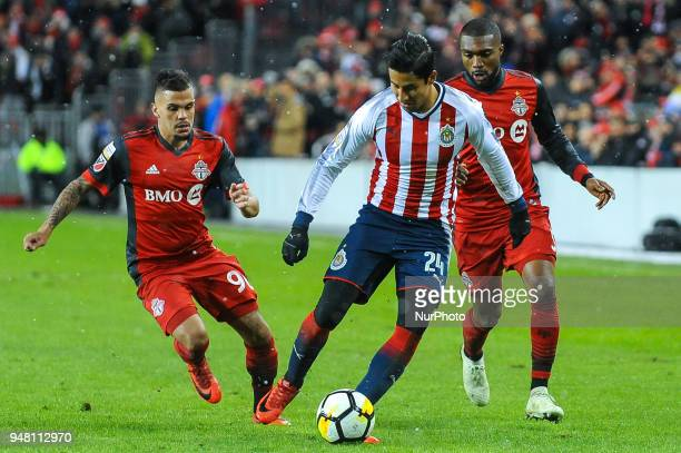 Carlos Cisneros with the ball during the 2018 CONCACAF Champions League Final match between Toronto FC and CD Chivas Guadalajara at BMO Field in...