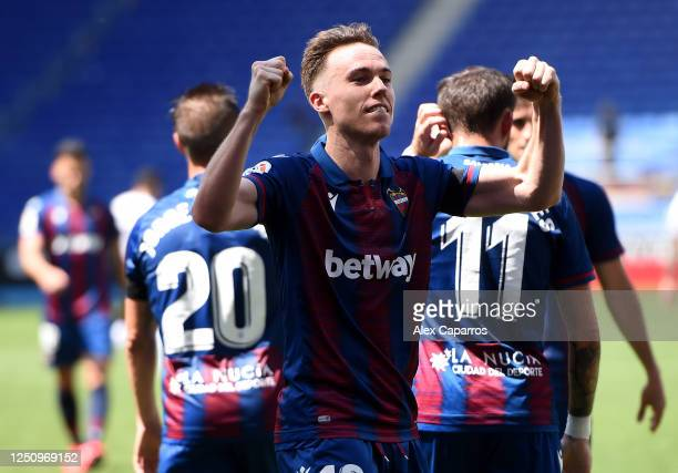 Carlos Clerc of Levante UD celebrates his sides third goal during the Liga match between RCD Espanyol and Levante UD at RCDE Stadium on June 20 2020...