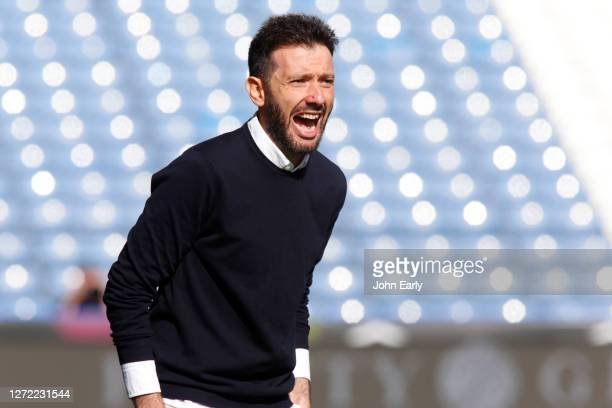 Carlos Coberán the Head Coach of Huddersfield Town during the Sky Bet Championship match between Huddersfield Town and Norwich City at John Smith's...