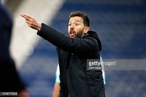 Carlos Coberán the Head Coach of Huddersfield Town during the Sky Bet Championship match between Huddersfield Town and Nottingham Forest at John...