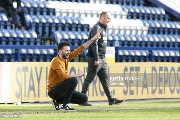 Carlos Coberán the Head Coach of Huddersfield Town during the Sky Bet Championship match between Preston North End and Huddersfield Town at Deepdale...