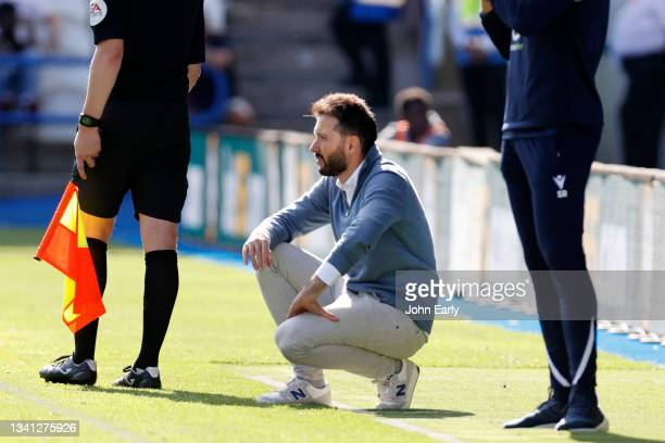 Carlos Coberán the Head Coach of Huddersfield Town during the Sky Bet Championship match between Huddersfield Town and Nottingham Forest at Kirklees...
