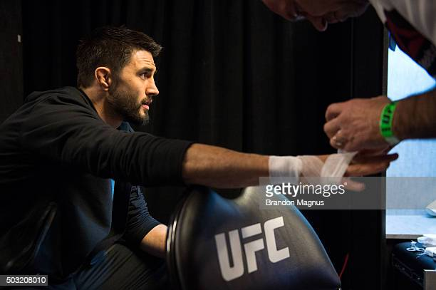 Carlos Condit gets his hands wrapped backstage during the UFC 195 event inside MGM Grand Garden Arena on January 2, 2016 in Las Vegas, Nevada.
