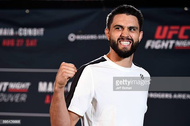 Carlos Condit holds an open workout session for media and fans at the Hyatt Regency Vancouver on August 25 2016 in Vancouver Canada