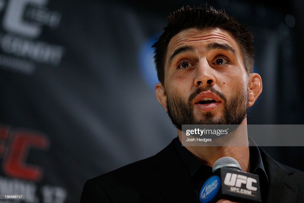 Carlos Condit interacts with media and fans during the final pre-fight press conference ahead of UFC 154 at New City Gas on November 14, 2012 in Montreal, Quebec, Canada.