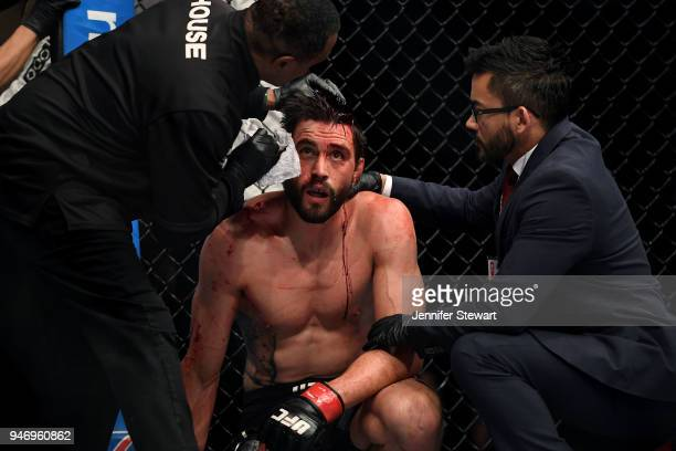 Carlos Condit is examined after the welterweight fight against Alex Oliveira during the UFC Fight Night at Gila River Arena on April 14 2018 in...