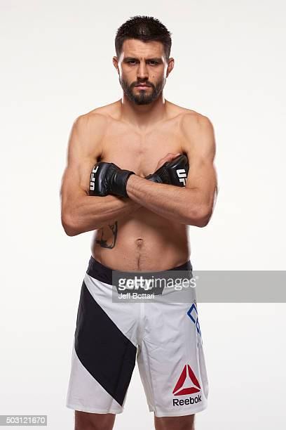 Carlos Condit poses for a portrait during a UFC photo session inside the MGM Grand Conference Center on December 29 2015 in Las Vegas Nevada
