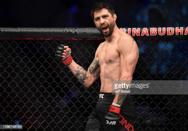 Carlos Condit prepares to fight Matt Brown in a welterweight bout during the UFC Fight Night event at Etihad Arena on UFC Fight Island on January 17,...