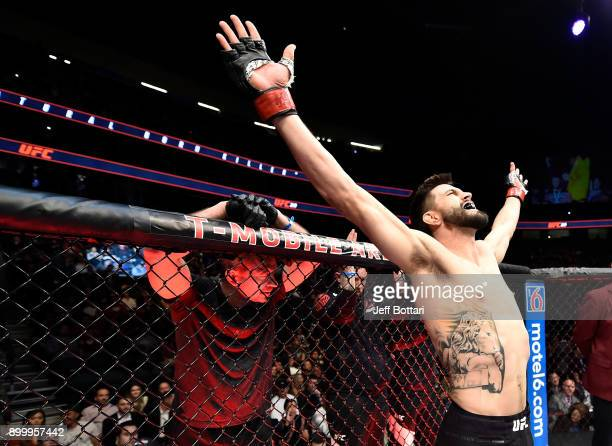 Carlos Condit prepares to fight Neil Magny in their welterweight bout during the UFC 219 event inside T-Mobile Arena on December 30, 2017 in Las...