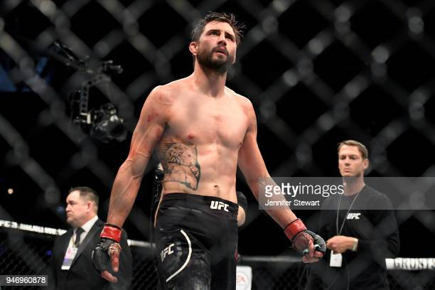 Carlos Condit reacts after the welterweight fight against Alex Oliveira of Brazil during the UFC Fight Night at Gila River Arena on April 14 2018 in...