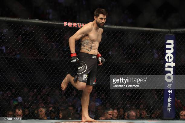Carlos Condit stands in his corner prior to facing Michael Chiesa in their welterweight bout during the UFC 232 event inside The Forum on December...