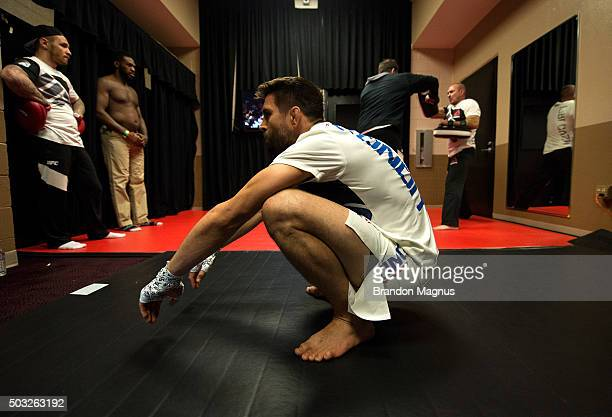 Carlos Condit warms up backstage during the UFC 195 event inside MGM Grand Garden Arena on January 2, 2016 in Las Vegas, Nevada.