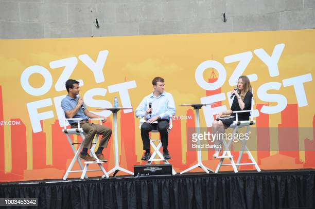 Carlos Corbelo Daniel Malloy and Kristin Roberts speak onstage during OZY Fest 2018 at Rumsey Playfield Central Park on July 21 2018 in New York City