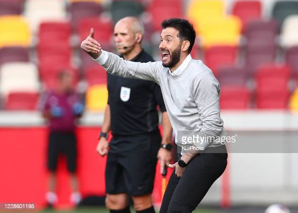 Carlos Corberan manager of Huddersfield Town during the Sky Bet Championship match between Brentford and Huddersfield Town at Griffin Park, London,...