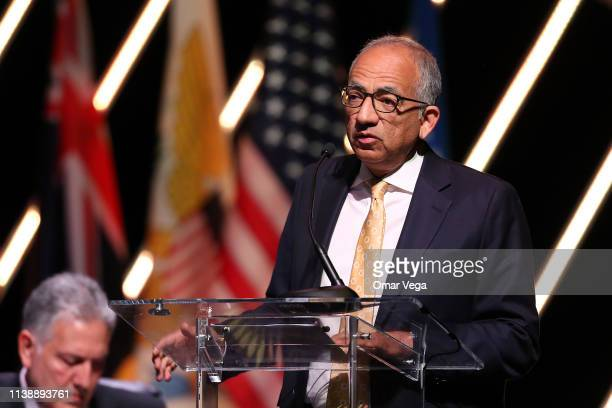 Carlos Cordeiro CONCACAF Council Member speaks during the CONCACAF 34th Ordinary Congress at Chelsea Theater on March 28 2019 in Las Vegas Nevada