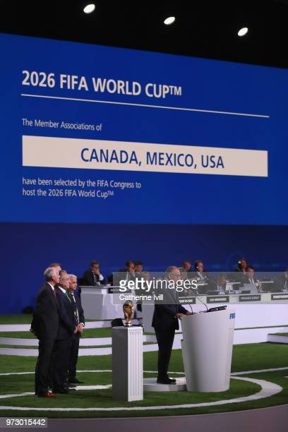 Carlos Cordeiro president of the United States Football Association addresses the 68th FIFA Congress after the announcement of the host for the 2026...