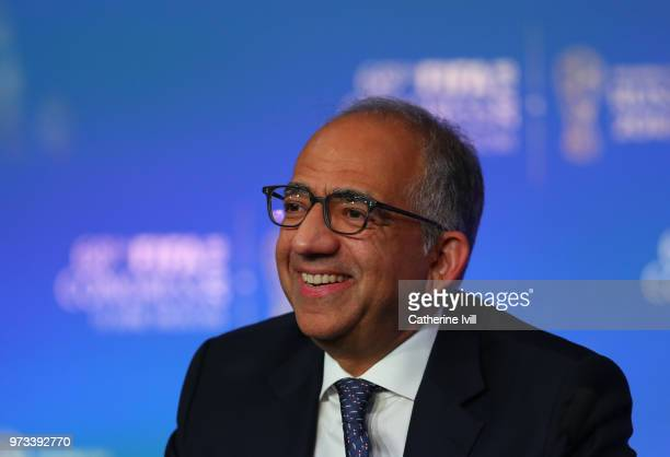 Carlos Cordeiro president of the United States Football Association speaks during the 68th FIFA Congress press conference on June 13 2018 in Moscow...