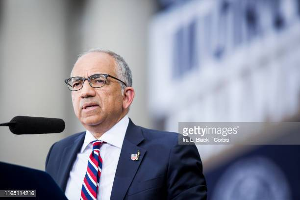 Carlos Cordeiro United States Soccer Federation President gives a speech on the steps of City Hall after the ticker tape parade down Broadway and...