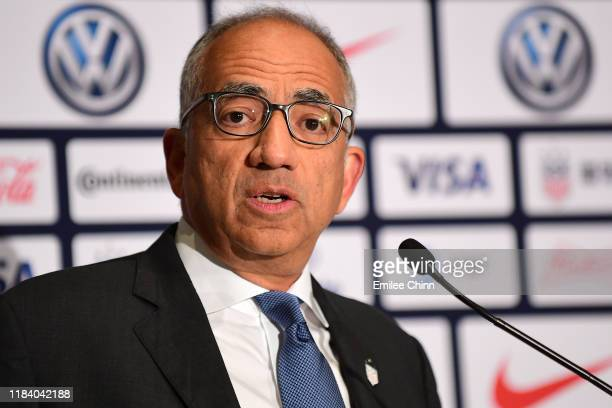 Carlos Cordeiro US Soccer President speaks at a press conference where Vlatko Andonovski was introduced as the US Women's National Team head coach at...