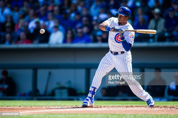 Carlos Corporan of the Chicago Cubs bats in the second inning during the spring training game against the Cleveland Indians during a spring training...