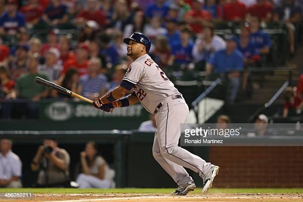 Carlos Corporan of the Houston Astros at Globe Life Park in Arlington on April 12 2014 in Arlington Texas