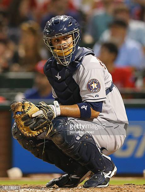 Carlos Corporan of the Houston Astros at Rangers Ballpark in Arlington on September 24 2013 in Arlington Texas