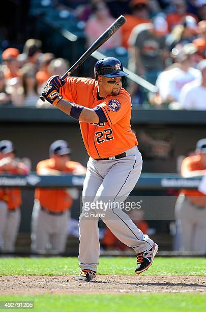 Carlos Corporan of the Houston Astros bats against the Baltimore Orioles at Oriole Park at Camden Yards on May 11 2014 in Baltimore Maryland
