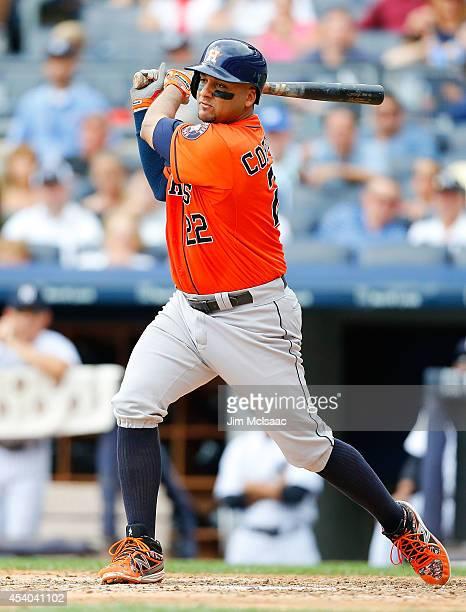 Carlos Corporan of the Houston Astros in action against the New York Yankees at Yankee Stadium on August 21 2014 in the Bronx borough of New York...