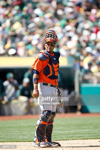 Carlos Corporan of the Houston Astros stands on the field during the game against the Oakland Athletics at Oco Coliseum on April 19 2014 in Oakland...