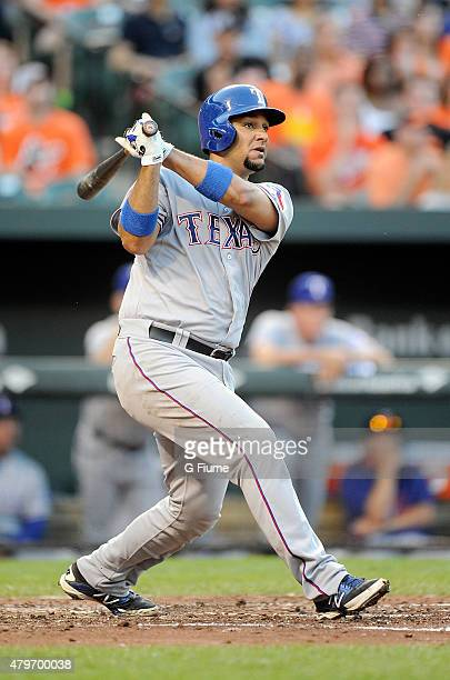 Carlos Corporan of the Texas Rangers hits a home run in the third inning against the Baltimore Orioles at Oriole Park at Camden Yards on June 29 2015...