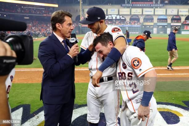 Carlos Correa and Alex Bregman of the Houston Astros talk to FOX reporter Tom Verducci after Astros defeated the Los Angeles Dodgers in Game 5 of the...