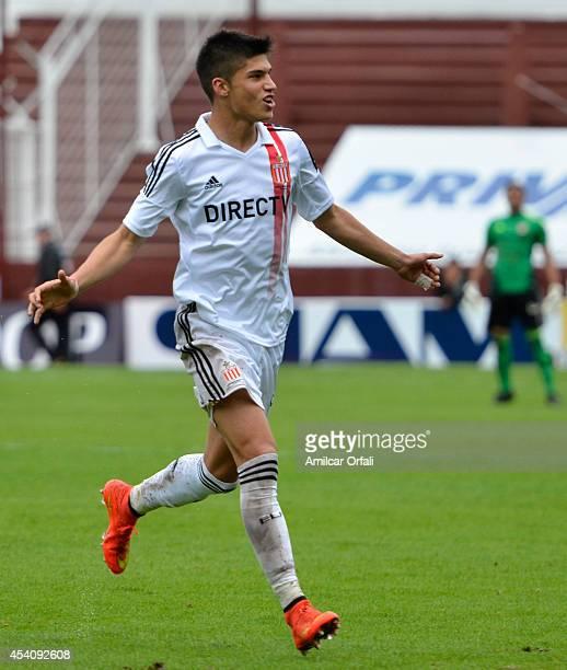 Carlos Correa of Estudiantes celebrates his goal during a match between Lanus and Estudiantes as part of third round of Torneo de Transicion 2014 at...