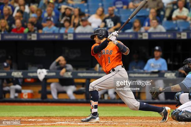 Carlos Correa of the Astros at bat during the MLB regular season game between the Houston Astros and Tampa Bay Rays on April 23 at Tropicana Field in...