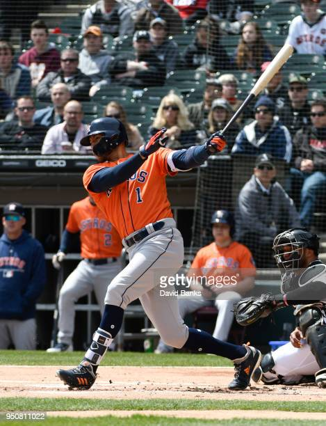 Carlos Correa of the Houston Astros bats against the Chicago White Sox on April 22 2018 at Guaranteed Rate Field in Chicago Illinois The Astros won...
