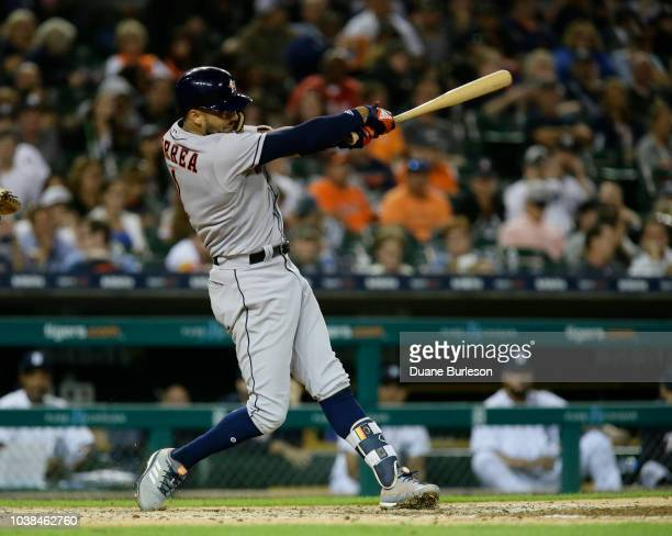 Carlos Correa of the Houston Astros bats against the Detroit Tigers at Comerica Park on September 11 2018 in Detroit Michigan
