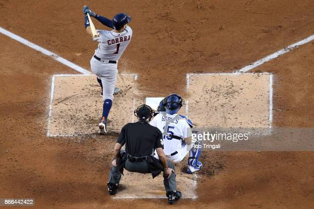 Carlos Correa of the Houston Astros bats during Game 2 of the 2017 World Series against the Los Angeles Dodgers at Dodger Stadium on Wednesday...