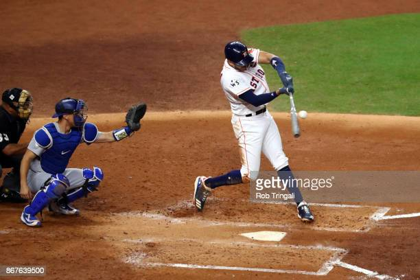 Carlos Correa of the Houston Astros bats during Game 4 of the 2017 World Series against the Los Angeles Dodgers at Minute Maid Park on Saturday...