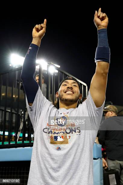 Carlos Correa of the Houston Astros celebrates defeating the Los Angeles Dodgers 51 in game seven to win the 2017 World Series at Dodger Stadium on...