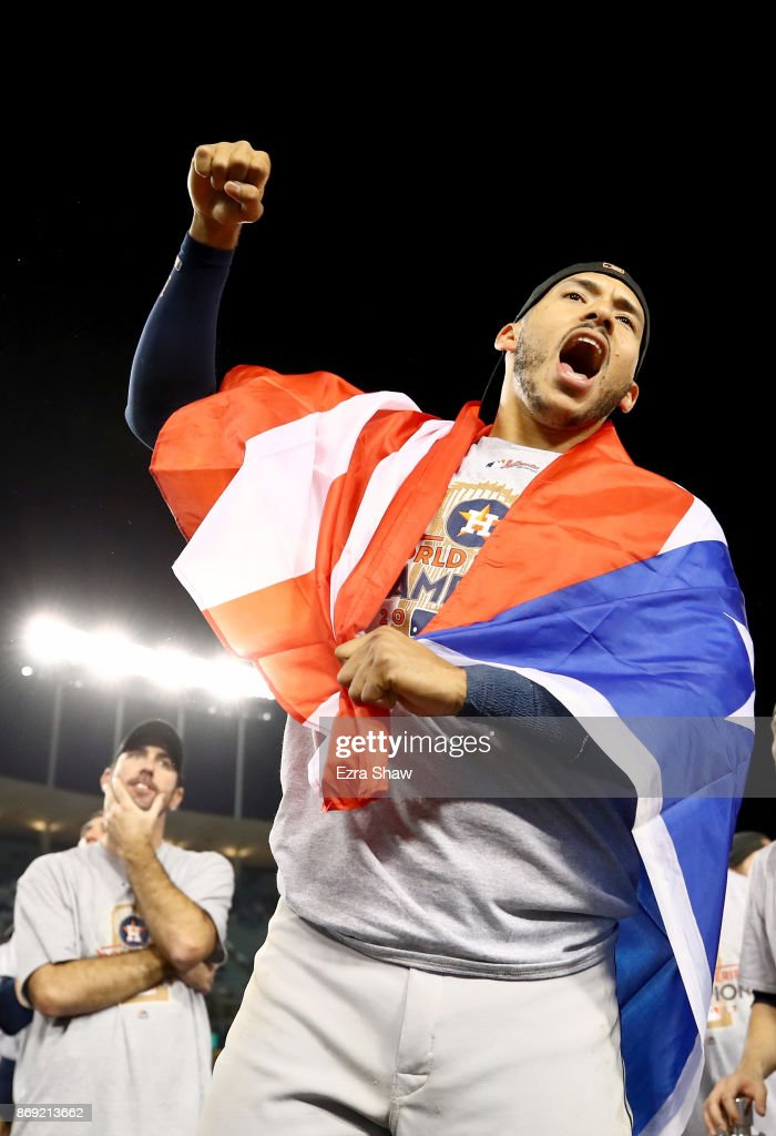 Carlos Correa #1 of the Houston Astros celebrates defeating the Los Angeles Dodgers 5-1 in game seven to win the 2017 World Series at Dodger Stadium on November 1, 2017 in Los Angeles, California.