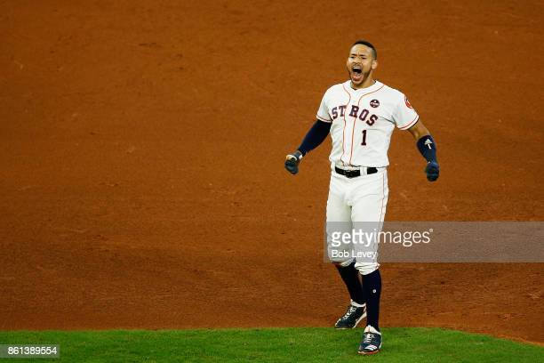 Carlos Correa of the Houston Astros celebrates their 2 to 1 win over the New York Yankees in game two of the American League Championship Series at...